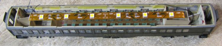 LED lighting inside modified Walthers Paired-Window Coach